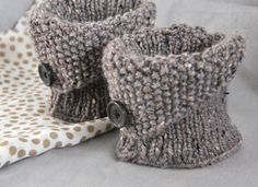 Boot Cuffs with folded top and button. I like the folded top cuff with button for a different look but I think I'd make these a bit longer as a boot cuff. Adding this to my To-Do list.Knit but a nice inspiration for crochet