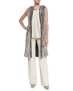 TARFC Halston Heritage Rabbit Fur Blocked Sweater Vest
