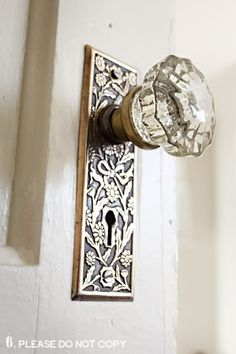 gorgeous door plate and glass knob.