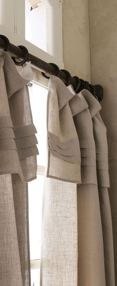 Pine Cone Hill Pleated-Top Curtains - These rod-pocket curtains of pure linen are by Pine Cone Hill®. Pleated Curtains, Rod Pocket Curtains, Linen Curtains, Curtains With Blinds, Drapery, Valances, Window Curtains, Neutral Curtains, Window Panels