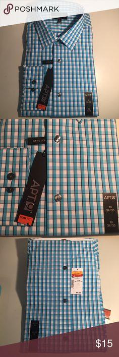 "NEW🎄Men's Blue 18"" Long Sleeve Slim Fit Shirt NEW  Men's Blue 18"" Long Sleeve Slim Fit Shirt higher armholes straight body tapered sleeve openings Apt. 9 Shirts Dress Shirts"