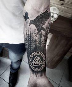Viking Tattoo Sleeve, Viking Tattoo Symbol, Wolf Tattoo Sleeve, Tattoo Sleeve Designs, Sleeve Tattoos, Tattoo Thor, Simbolos Tattoo, Rune Tattoo, Norse Tattoo