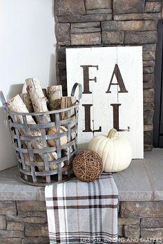 Fall Sign and Rustic Mantel Fireplace Decor Fall Home Tour - Taryn Whiteaker Fall Home Decor, Autumn Home, Home Decor Trends, Decor Ideas, Country Fall Decor, Art Ideas, Hm Deco, Interior Design Trends, Interior Designing
