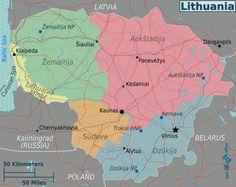 Litauen Karte im Litauen Reiseführer http://www.abenteurer.net/2236-litauen-reisefuehrer/