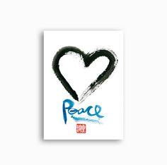 Zen Enso Heart Circle Zen Words Calligraphy Peace  by ZenBrush