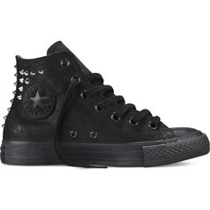 Converse Chuck Taylor Collar Studs – black Sneakers ($70) ❤ liked on Polyvore featuring shoes, sneakers, converse, black, studded sneakers, black sneakers, converse footwear, black studded sneakers and black studded shoes