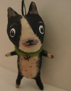 Spun Cotton Boston Terrier Dog ornament Miniature by MRCROWSGARDEN