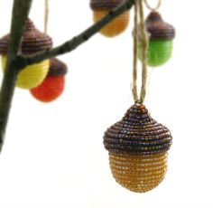 Acorn Ornament Natural Brown Beaded Fall by MeredithDada on Etsy, $24.00