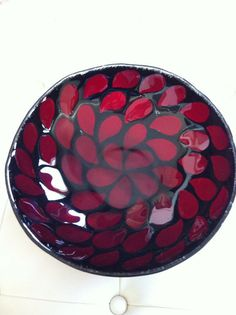Red and Black Fused Glass Bowl by SeaShellsGlass on Etsy, $200.00