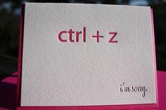 Letterpress 'ctrl Z' Nerd, I'm Sorry Card  | Paperwheel On Etsy