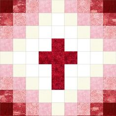 This easy to sew religious cross quilt kit can be made into a perfect baby quilt with beautiful red tones from white to dark red. Perfect beginner quilt kit for wall-hangings, baby quilts, table toppe: