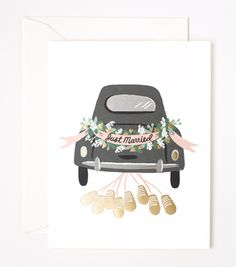 Just Married Getaway card designed by Anna Bond for Rifle Paper Co. Anna Bond, Baby Journal, Party Animals, Just Married Auto, Car Card, Wedding Greetings, Wedding Plates, Wedding Preparation, Christmas Preparation
