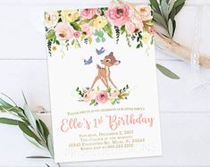 Bambi Birthday Invitation Bambi Birthday Invitation Girl Printable Hi 1st Birthday Party For Girls, Girl Birthday Themes, Birthday Ideas, Birthday Party Invitations, First Birthdays, Bambi Characters, Bambi Baby, Deer Girl, Party Ideas