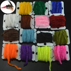 MNFT 2 Cards Fishing Flies Tying Body Material Fly Tying Tinsel Chenille For Woolly Bugger Worms Rayon Chenille Yarn Fly Fishing