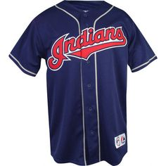 Cleveland Indians Second Home Navy MLB Replica Jersey: Majestic... ❤ liked on Polyvore featuring tops, shirts, jerseys, navy shirt, navy blue jersey, navy blue tops, blue shirt and blue top