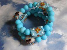 Turquoise Bracelet, Cuff Bracelet, Boho Bracelet, Memory Wire Bracelet, Beaded Bracelet, Boho Jewelry,  Turquoise Beads, Chunky Beads by MarcieWorld on Etsy