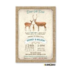 Rustic Burlap Baby Shower Invitation, Baby Boy Shower Invite, Summer Baby Shower, Deer Baby Shower, Burlap Woodland baby Shower Invite 205 by 800Canvas on Etsy