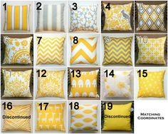 Premier Prints Yellow Lumbar Pillow Cover- 12x16 or 12x18 inches- Hidden Zipper Closure- You Choose. $14.95, via Etsy.