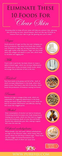 Beauty Hacks | Easy ways to fight acne! Click here to learn the top 10 foods to remove from your diet to get the clear, glowing skin you're after! http://www.purefiji.com/blog/foods-to-avoid-clear-skin/ | Skin Care Tips