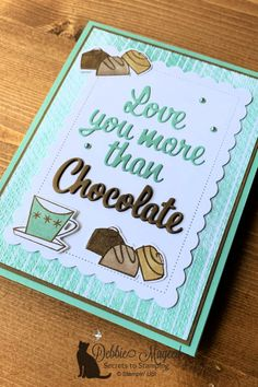 Features Nothing's Better Than Stamp Set. Learn how to make this card and more! 24/7 ONLINE SHOPPING for Stampin' Up! products! #DebbieMageed #SecretsToStamping #StampinUp #sttcchallenge #stampinup #cardmaking #stamp #papercraft #handmadecards via @debbiemageed Chocolate Card, Alphabet Design, Stamping Up Cards, Space Crafts, Pen And Paper, Love You More Than, Love Valentines, Recipe Cards, Flower Cards