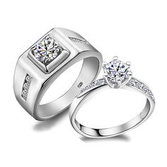 Custom Name Diamond Wedding Class Ring Sets for Two