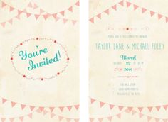 wedding invitation vintage flag and floral wedding invites by CosmicLaneDesign, $25.00