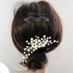 Wedding Hair Accessories, Ivory Swarovski Pearls Rhinestone Crystal Silver Hair Combs, Bridal Hair Comb Tiara Vine Headpiece Fascinator