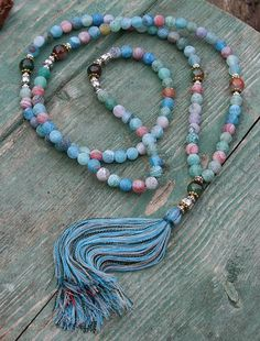 Frosted Agate Mala necklace - look4treasures on Etsy, $62.95