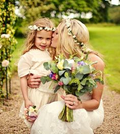 Bride's long down bridal hair ideas Toni Kami Wedding Hairstyles ♥ ❶ flower girl flower crowns corona halo