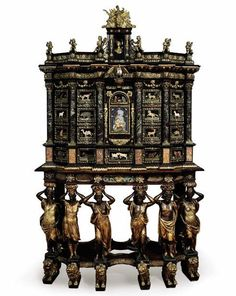 Cabinet-on-stand attributed to Domenico Cucci and the Gobelins workshop, c. Carved, ebonized, and parcel-gilded ash with pietra dura and tortoiseshell panels and gilt-bronze mounts; height width depth 26 (cabinet) and (stand) inches. Baroque Furniture, European Furniture, French Furniture, Unique Furniture, Vintage Furniture, Furniture Design, Reproduction Furniture, Luis Xiv, Antique Cabinets