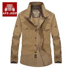 >> Click to Buy << Original Brand AFS JEEP Mens Shirts Cargo Clothing 100% Cotton Military Man Shirt Caual long Sleeve High-grade Quality #Affiliate