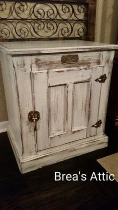 White Distressed White Clad Icebox side table. These are a cool funky redo, snatch em up!! .... love this i have one i can do this!! love it