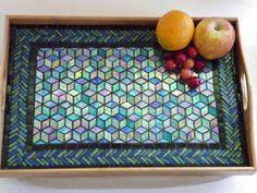 Luxurious Mosaic Serving Tray - Handmade Lap Desk - Stained Glass - Iridescent Diamonds - Tumbling Blocks Pattern - Cotton-Linen Cushion