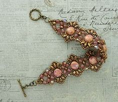 Linda's Crafty Inspirations: Bracelet of the Day: Flutter with Candy Beads - Rosaline Seed Bead Bracelets, Seed Bead Earrings, Jewelry Bracelets, Seed Beads, Beaded Necklace Patterns, Bead Patterns, Diy Jewelry Inspiration, Jewelry Ideas, Tejidos