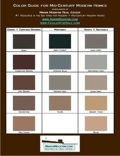 eichler paint colors, mid-century modern paint and stain swatch