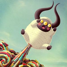 Monster sheep surprise, from the imaginative mind of Madrid based illustrator Juan Carlos Paz (aka Bakea).