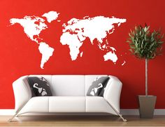 Stickerbrand World Map Wall Decal Sticker w/ 224 Pins - White Map w/Red, Black, White & Grey Pins, x Easy to Apply & Removable. Wall Stickers Murals, Wall Decal Sticker, Vinyl Wall Decals, Wall Mural, World Map Wall Decal, Wall Maps, World Map With Pins, World Map Wallpaper, My New Room
