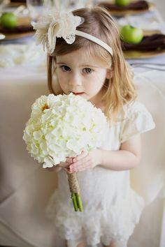 White hydrangea bouquet for flower girl.