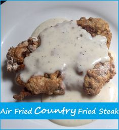 Air fried country fried steak that is lower in fat but full of flavor! Quick, easy and delicious with crispy outsides and tender insides. Takes roughly 20 minutes prep to finish! Air Fryer Recipes Vegetarian, Air Fryer Recipes Snacks, Air Fryer Recipes Low Carb, Air Frier Recipes, Air Fryer Recipes Breakfast, Air Fryer Dinner Recipes, Air Fryer Rotisserie Recipes, Fried Cube Steaks, Chicken Fried Steak
