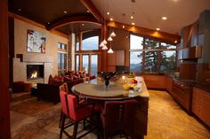 Contemporary Kitchen Photos Fireplace Design, Pictures, Remodel, Decor and Ideas - page 6