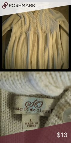 SO Cream Sweater Says large,  but better for a medium or a small   #beige #tan #cream #sweater #Knit #knitsweater #so #kohls #ivory #buttons SO Sweaters
