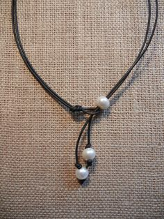 Handmade Freshwater Pearl and Leather Lariat and Choker by Accent2