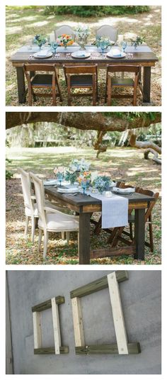 Foldable Farmhouse Rustic Dining Table   Do It Yourself Home Projects from Ana White