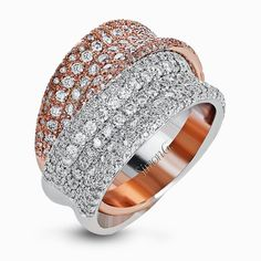 Two intertwined shimmering bands in white gold and rose gold set with 2.24 ctw white diamonds in pave settings form this exquisite two-tone ring.