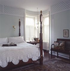 "Stencil Border Bedroom — Stencils have been used to create a beautiful border around this plantation style bedroom.  *Find this DIY project in the ""How To"" Gallery"