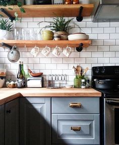 While A Little Cluttered For My Taste, I Love The Open Shelves And The  Butcher Block Counters, As Well As The Subway Tile Which Can Do No Wrong.