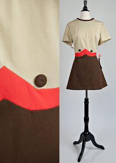 MOD Color Block Space Age Stewardess Mini Dress by VZmodaVintage, $40.00