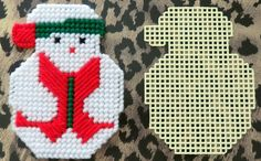 Plastic Canvas Snowman Christmas Coaster or by AdelesCrafts