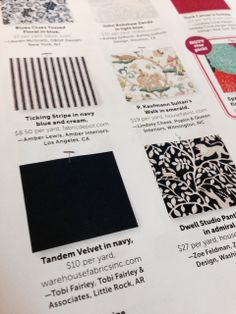 Love this fun article in @HGTV magazine's May issue - with designers' picks for best fabrics online for under $35/yard! I chose a navy velvet from Warehouse Fabrics Inc. Be sure to check out all of the other selections from my friends and colleagues!