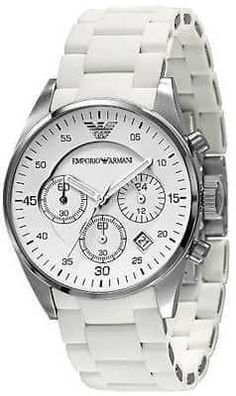 cf27f0a2c80 Emporio Armani White Chronograph Men s Watch from Tic Watches the UK s  leading online stockist of Armani Watches.